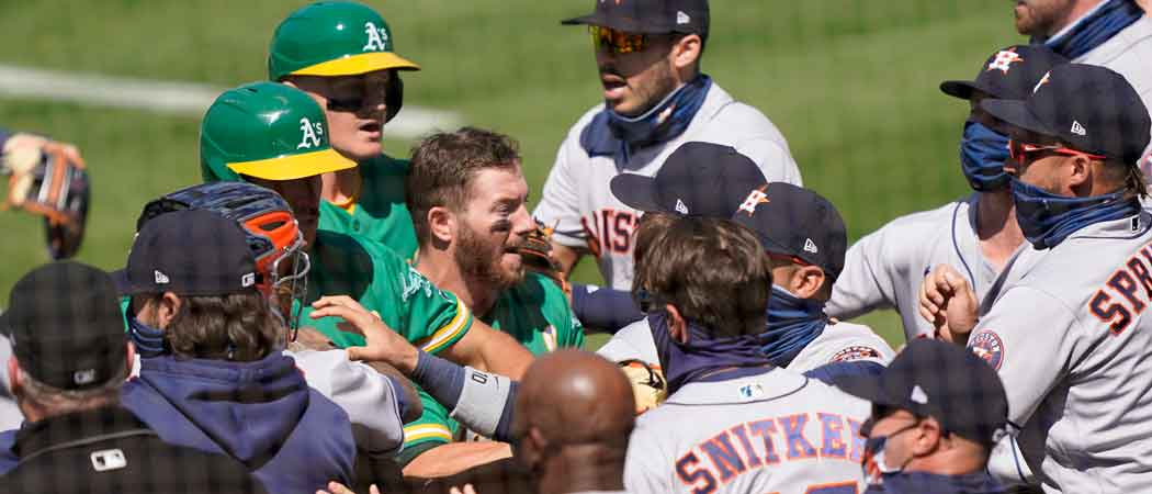 WATCH: Oakland A's & Houston Astros Get Into Bench-Clearing Brawl