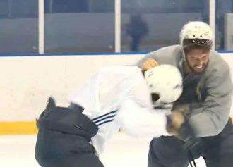 St. Louis Blues' Zach Sanford & Robert Bortuzzo Fight In Practice, Throw Sticks [VIDEO]