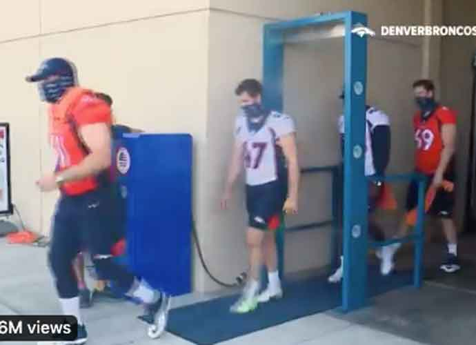 WATCH: Broncos Install Misting Sanitation Station