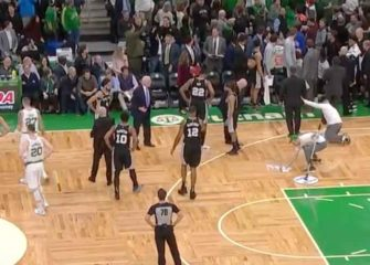 Celtics Fan Ejected & Arrested For Throwing Beer Can At Spurs Bench [VIDEO]