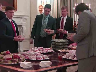 "Donald Trump Serves Clemson Football Team Fast Food At White House, ""Paid For"" By Him [VIDEO]"