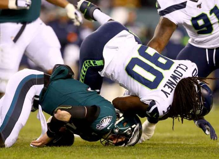 Seahawks End Eagles Season With 17-9 Win, Despite 'Dirty' Hit On Wentz By Clowney
