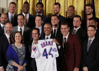 Chicago Cubs Visit White House, Dexter Fowler Gives Obama Personalized Air Jordans