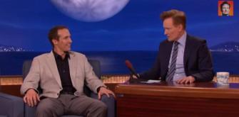 Drew Brees Nearly Breaks a Light and Talks Deflate-Gate On 'Conan'