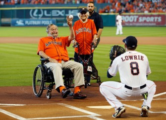 George H. W. Bush Throws Out First Pitch At Astros Game