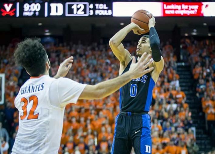 Jayson Tatum Scores 28 As No. 12 Duke Rolls Past No. 14 Virginia, 65-55