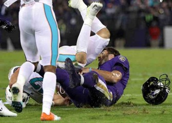 Ravens Lose Joe Flacco In 40-0 Rout Of Dolphins, Fight Breaks Out