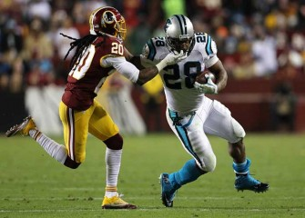 Panthers RB Jonathan Stewart Gets Facemask Knocked Off Helmet In 26-15 Win Over Redskins