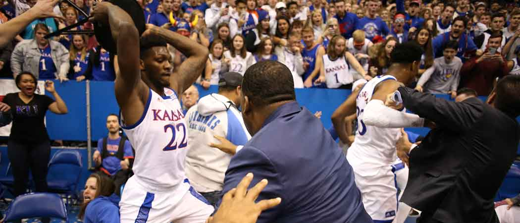 WATCH: Kansas Vs. Kansas State Game Ends In Massive Brawl [Video]