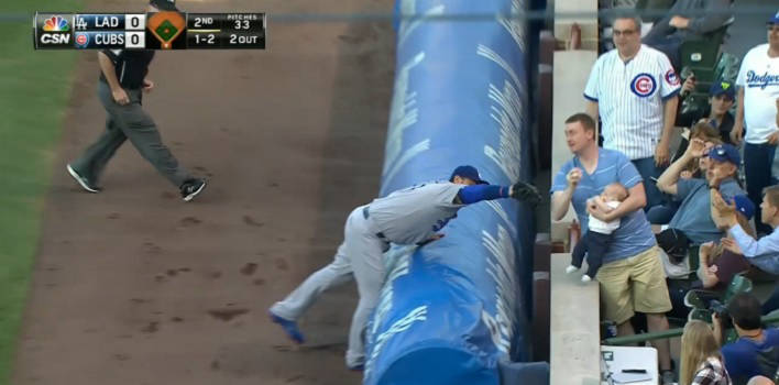 Cubs Fan Keith Hartley Catches Foul Ball While Feeding Baby