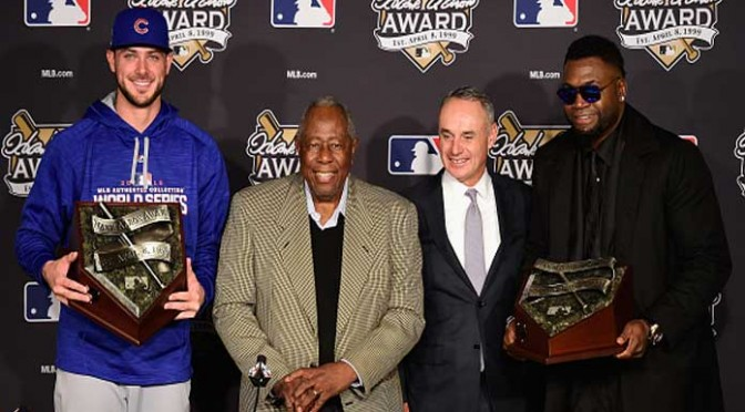 Kris Bryant, David Ortiz Named 2016 Hank Aaaron Award Winners