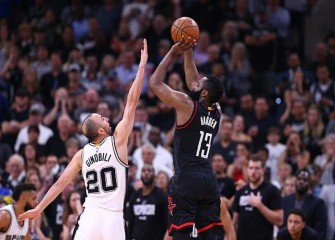 Watch: Manu Ginobili Blocks James Harden From Behind In Last Second Of Spurs' 110-107 OT Win Vs Rockets