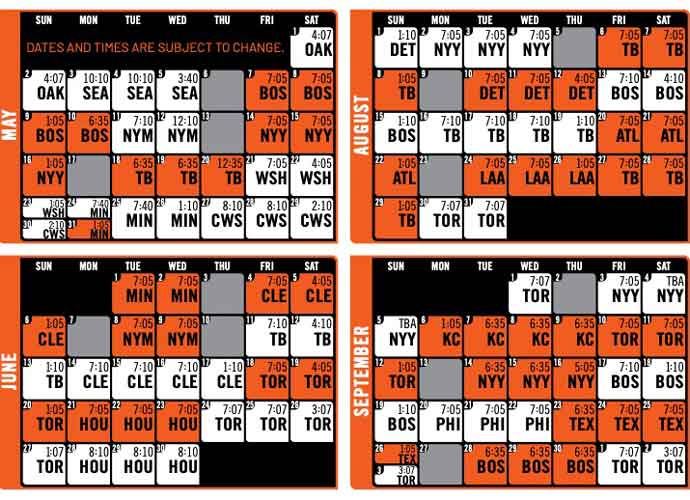 Baltimore Orioles 2021 Schedule (Image: Orioles)