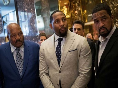 Former NFL Stars Jim Brown, Ray Lewis Meet With Donald Trump At Trump Tower