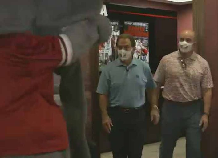 Watch: Nick Saban Rips University Of Alabama Mascot Big Al For Not Wearing Mask In COVID-19 PSA