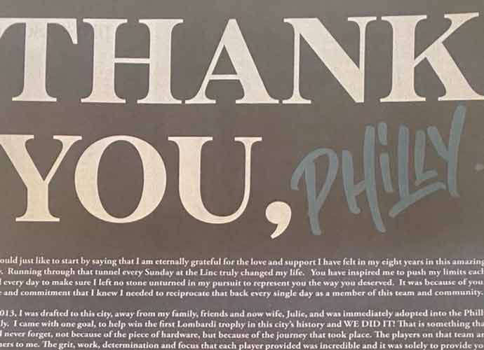 Zach Ertz Says Goodbye To Philadelphia – With A Full-Page Newspaper Ad!