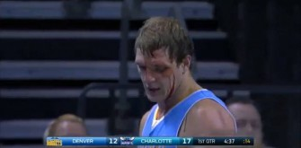 Denver Nuggets' Timofey Mozgov Bloodied With Elbow