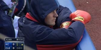 Cleveland Indians' Trevor Bauer Wears Boxing Gloves During Royals Game