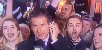 Winnipeg Jets Fan Dumps Own Beer On Head While On Television