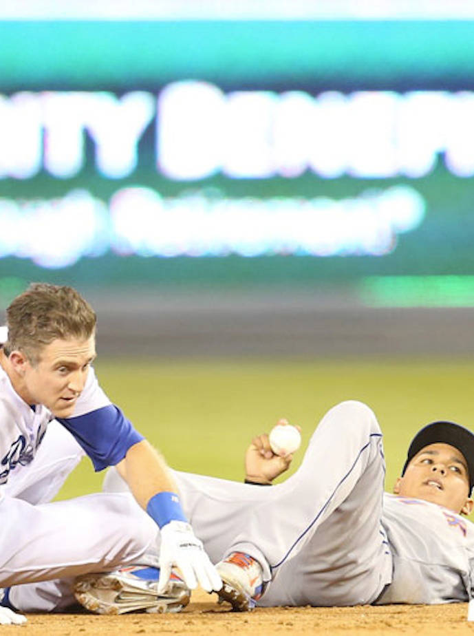 Chase Utley And Ruben Tejada After Infamous Slide Collision During Game 2 Of The NLDS.